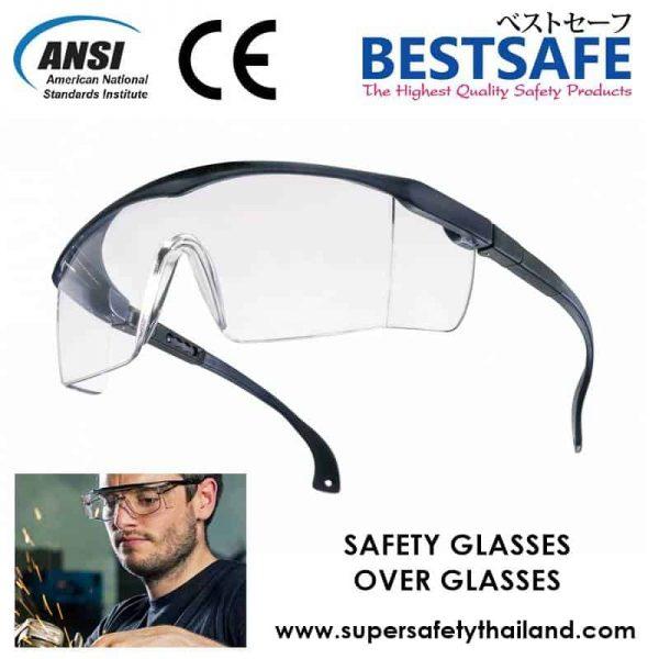 แว่นตาเซฟตี้ รุ่นสามารถใส่ทับแว่นตาได้ ราคาถูก ! (มีใส และดำ)