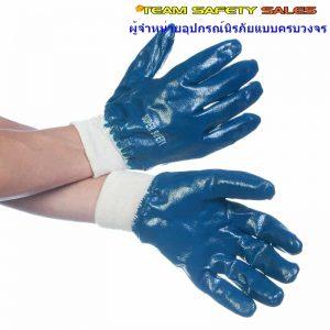 ถุงมือเคลือบไนไตรเต็มฝ่ามือรัดขอบ รุ่น NI155 กันน้ำมัน กันกระแทก กันบาด ทั้งหน้าและหลังมือ