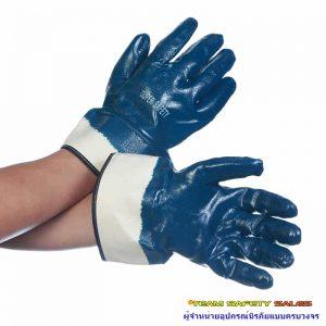 ถุงมือเคลือบไนไตรเต็มฝ่ามือขอบเซฟตี้ รุ่น NI175 กันน้ำมัน กันกระแทก กันบาด ทั้งหน้าและหลังมือ