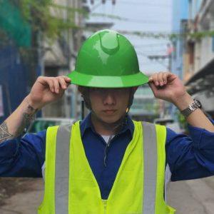 หมวกนิรภัยเซฟตี้มาตรฐาน USA รุ่น Full Brim กันไฟฟ้า 20,000 V (สีเขียว)