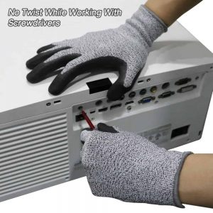 ถุงมือกันบาดระดับ 5 เคลือบ Nano Nitrile รุ่น SG777 BEST SAFE