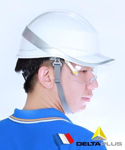 หมวกเซฟตี้นิรภัยกันไฟฟ้าแรงสูง กันแรงกระแทก เสริมแถบสะท้อนแสงจากฝรั่งเศส พร้อมแว่นเซฟตี้ติดกับหมวก