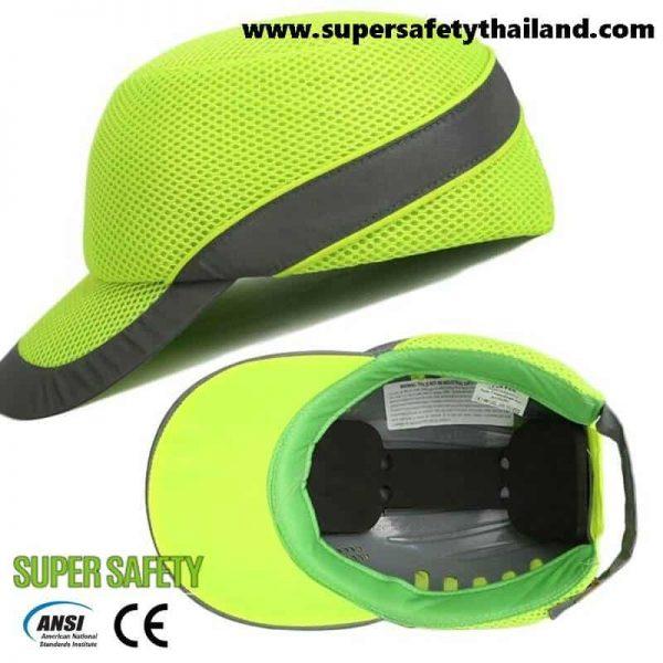 Amazing !!! หมวกเซฟตี้ทรง Sport สีเขียว แถบสะท้อนแสง
