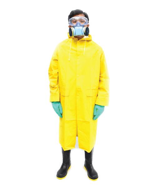 ชุด PVC กันสารเคมี แบบ Over Coat คลุมแบบยาว
