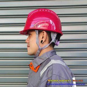 หมวกเซฟตี้พร้อมกระบังหน้าสีแดง สายรัดคาง 4 จุด