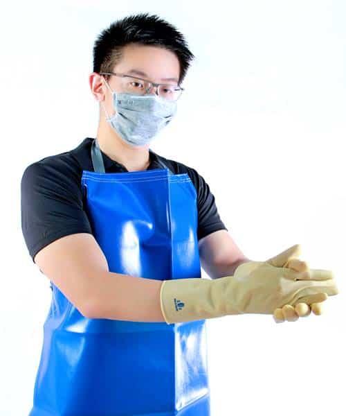 """ถุงมือยางยาว 13"""" สีขาว (กันสารเคมี สัมผัสอาหาร)"""