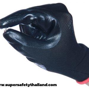 ถุงมือผ้าไนล่อนเคลือบไนไตรกันน้ำมันสีดำ กันสารเคมี Hyflex