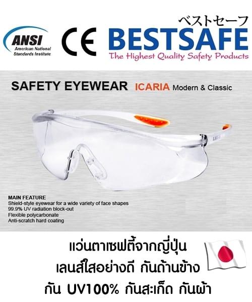 SALE แว่นตาเซฟตี้นิรภัยจากญี่ปุ่น กันฝ้า กัน UV กันสะเก็ดต่างๆ ปลอดภัย 100% ทรง Sport ปิดด้านข้าง