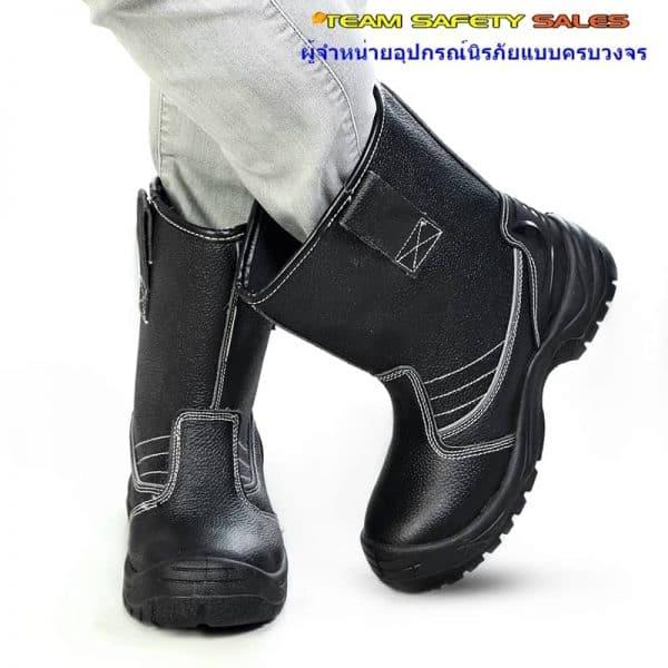รองเท้าบู๊ตนิรภัยสีดำ พื้นกันความร้อน 300C