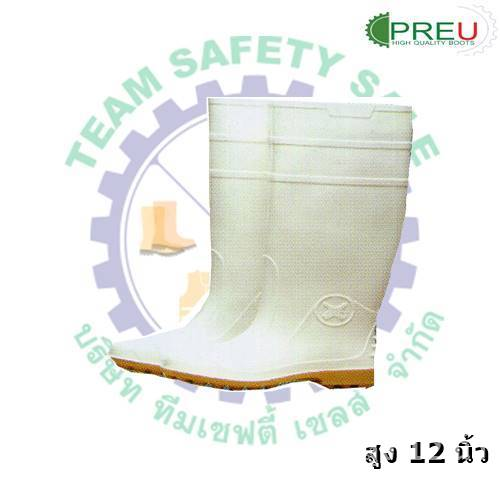 อุปกรณ์อื่นๆ : รองเท้าบูทยาง PVC สีขาวสูง 12 นิ้ว พื้นยาง (จำหน่ายเป็นโหล)
