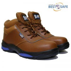 รองเท้าเซฟตี้หุ้มข้อสีน้ำตาลหัว Composite พื้น Kevlar กันทะลุ น้ำหนักเบา