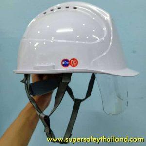 Amazing หมวกเซฟตี้นิรภัยมีรูระบายอากาศพร้อมกระบังหน้า (คนใส่แว่นตาก็สามารถใช้งานได้)