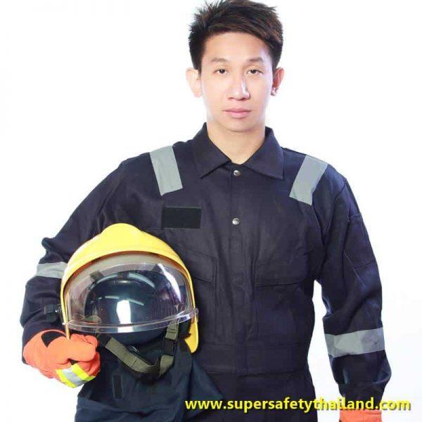 ชุดดับเพลิง ชุดซ้อมดับเพลิง ชุดฝึกดับเพลิง ชุดครูสอนดับเพลิง ชุดหน่วยดับเพลิง (สีกรม)