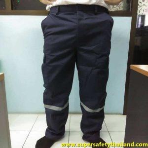 กางเกงช่างสีดำเสริมแถบสะท้อนแสง