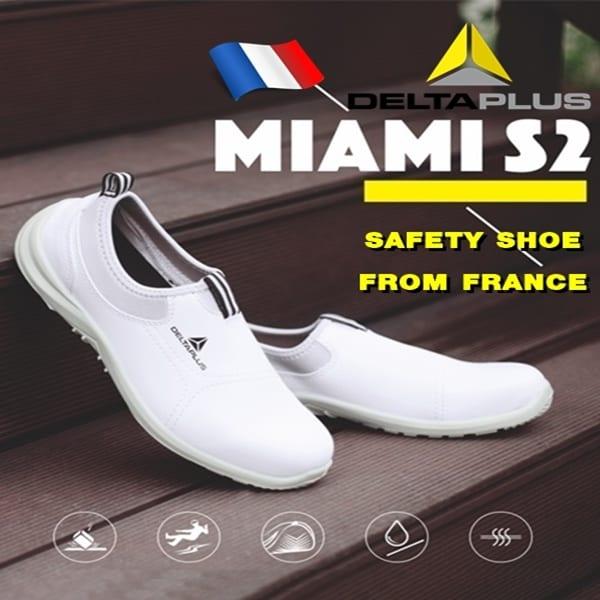 รองเท้าเซฟตี้จากฝรั่งเศสสีขาว รุ่น Miami-White ล้าง Stock