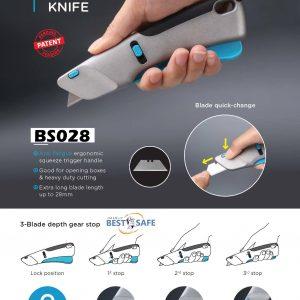 Safety Cutter รุ่น BS28 แบบบีบมือ ดีที่สุด