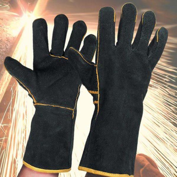 A+ ถุงมือหนังเย็บเชือม แบบยาว กันความร้อน 300C กันไฟ กันงานเชื่อม