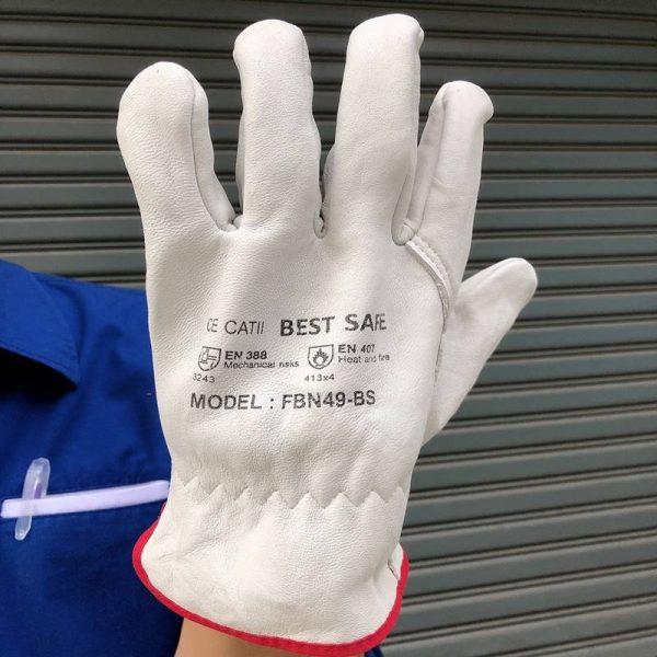 ถุงมือหนังผิว รุ่น BEST SAFE กระชับ เบา กันความร้อนได้ดี