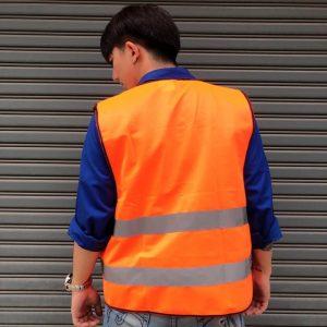 A+ เสื้อสะท้อนแสง แบบมีซิป ด้านหน้าแถบซิบสวมใส่ง่าย (ทำโลโก้ได้ด้านหลังได้) – สีส้ม